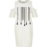 White tassel cold shoulder t-shirt