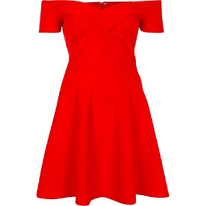 Red scuba bardot skater dress