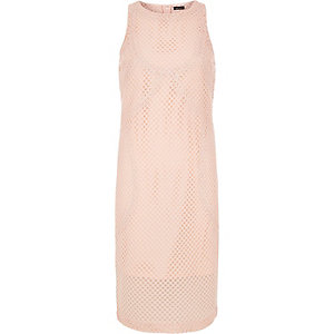 Light pink mesh midi dress