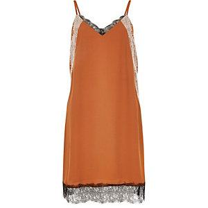 Rust brown lace slip dress