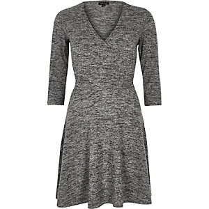 Grey marl wrap front skater dress