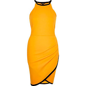 Orange asymmetric wrap bodycon mini dress
