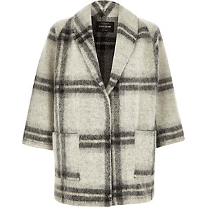 Grey wool-blend check pea coat