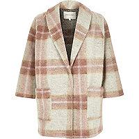 Pink wool-blend check pea coat