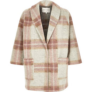 Pink wool-blend check pea coat