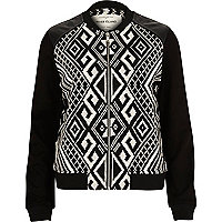 Black geometric print bomber jacket