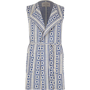 Blue Aztec print sleeveless jacket