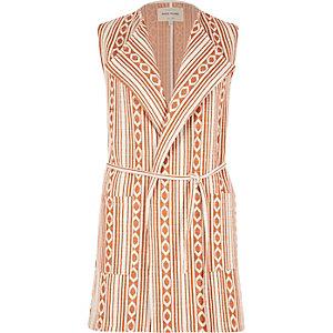Orange Aztec print sleeveless jacket
