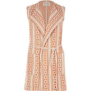 Orange Aztec print sleeveless jacket