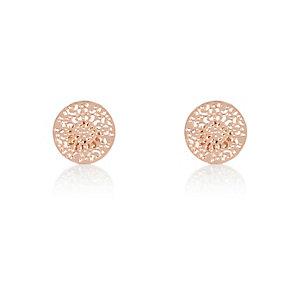 Rose gold tone filigree stud earrings