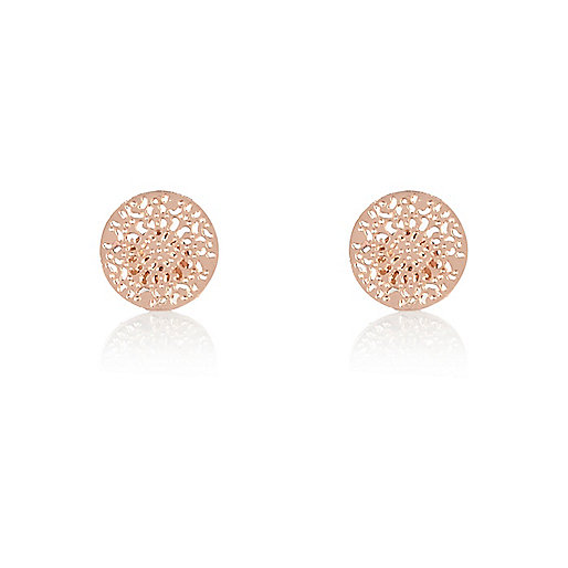 Rose gold tone filigree stud earrings