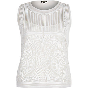 Cream mesh embroidered tank top