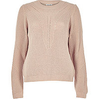 Light pink knitted zip back sweater