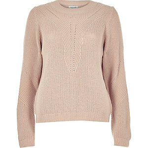 Light pink knitted zip back jumper