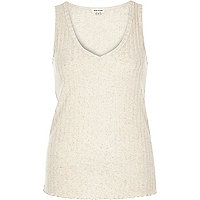 Cream V-neck sleeveless vest