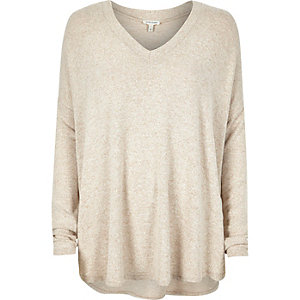 Beige brushed knitted swing sweater
