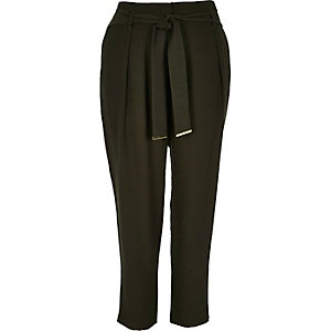 Khaki soft tie waist tapered pants