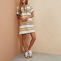 Beige RI Studio stripe lace-up tunic dress