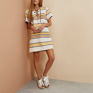 Beige RI Studio stripe lace-up tunic dress