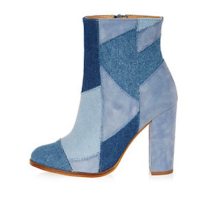 Blue denim patchwork heeled ankle boots