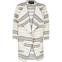 Cream stripe draped jacket