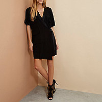 Black RI Studio minimal tux wrap dress