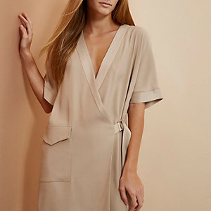 Beige RI Studio minimal tux wrap dress