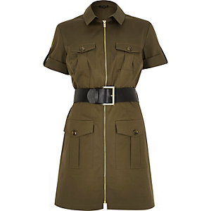 Green belted military zip-up dress
