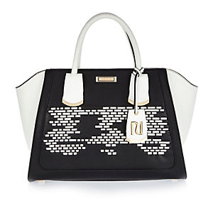 Black woven detail winged tote bag
