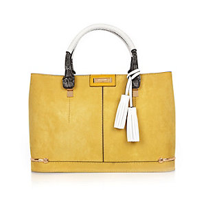 Yellow structured tote handbag