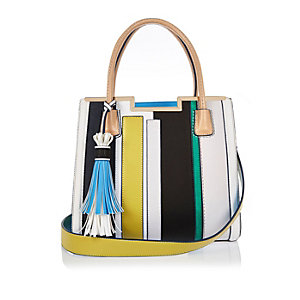 Blue stripe tote handbag