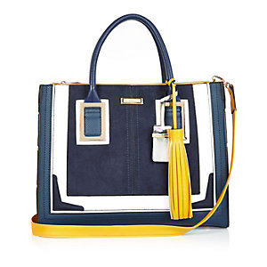 Navy large tote handbag