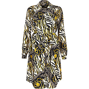Black zebra print shirt dress