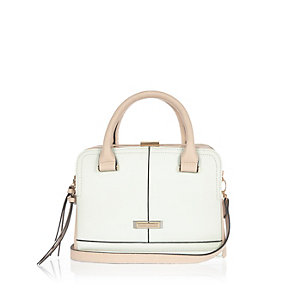 Light green boxy tote handbag