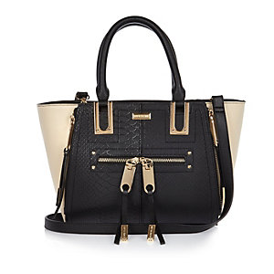 Black mini zip winged tote handbag