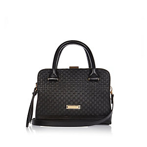 Black embossed mini boxy tote handbag