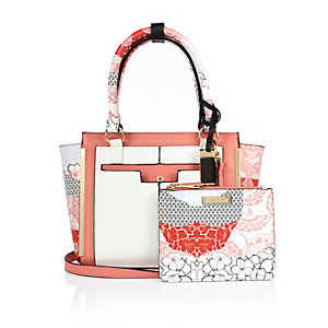 Pink floral print mini tote handbag