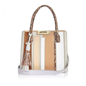 Beige stripe structured tote handbag