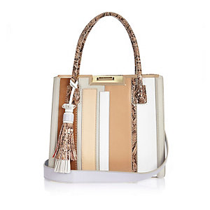 Beige stripe structured tote handbag