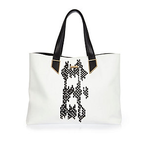 White woven beach bag