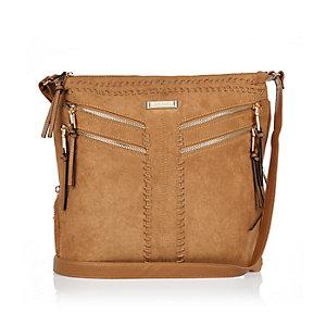 Brown faux suede messenger handbag