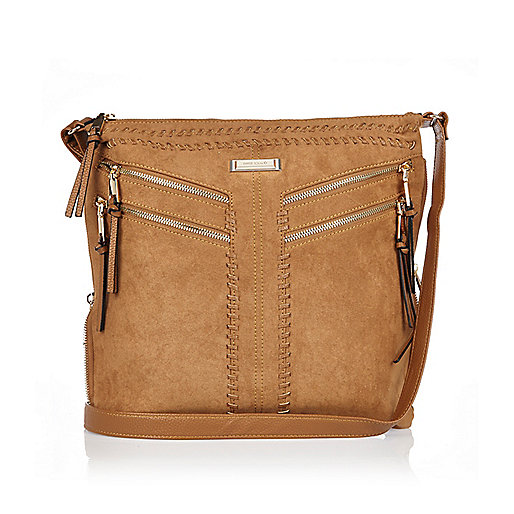 Brown faux suede messenger handbag