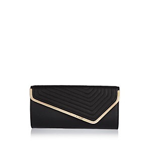 Black envelope clutch handbag