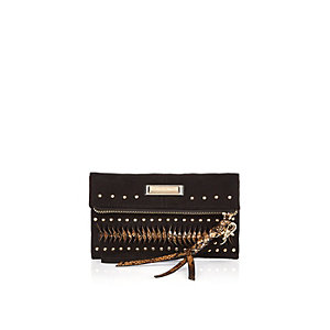 Black studded zip purse