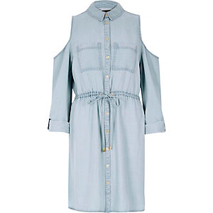 Light blue cold shoulder shirt dress