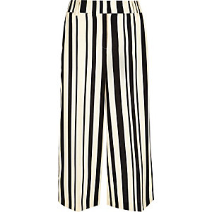 Navy stripe wide cropped pants
