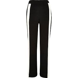 Black contrast side panel wide leg pants