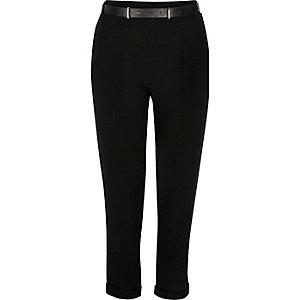Black smart belted cigarette pants