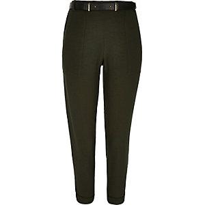 Khaki smart belted cigarette pants