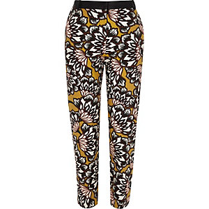 Yellow floral print woven cigarette trousers